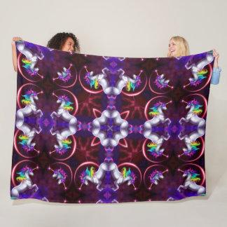 Couverture Polaire Mandala magique de kaléidoscope de licorne