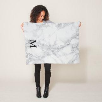 Couverture Polaire Marbre gris blanc de monogramme