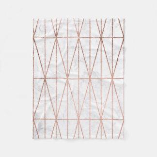 Couverture Polaire Marbre rose de blanc d'or de triangles