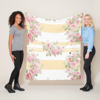 Couverture Polaire Milieu de rayure de renoncule de roses d'été de