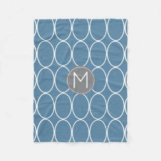 Couverture Polaire Monogramme bleu et gris de conception graphique