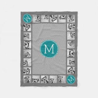 Couverture Polaire Monogramme de 11 de photos de turquoise chevrons