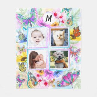 Couverture Polaire Monogramme de collage de photo de papillons et de