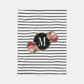 Couverture Polaire Monogramme floral rayé blanc noir moderne de Boho