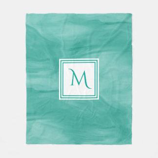Couverture Polaire Monogramme moderne de marbre subtil vert turquoise