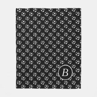 Couverture Polaire Monogramme noir et blanc de ballons de football