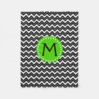 Couverture Polaire Monogramme noir et blanc de Chevron