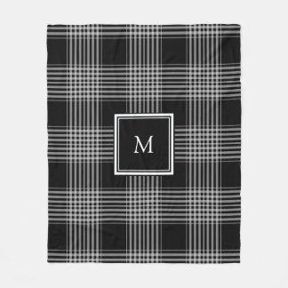 Couverture Polaire Monogramme noir et blanc moderne de famille de
