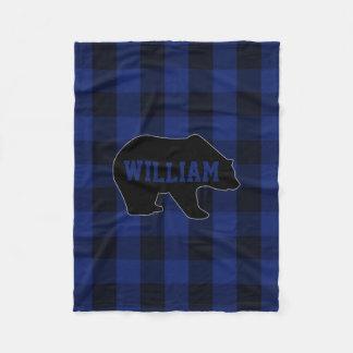 Couverture Polaire Monogramme noir et bleu d'ours de contrôle de