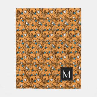Couverture Polaire Monogramme orange du motif | de chatouillement de