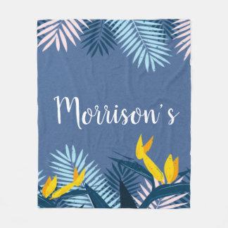 Couverture Polaire Monogramme tropical bleu moderne de paradis