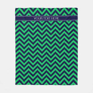 Couverture Polaire Monogramme vert de nom de bleu marine