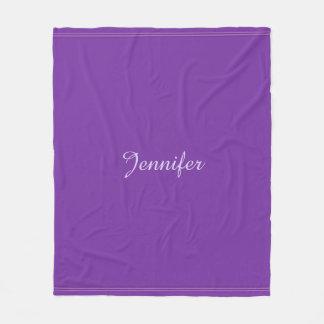 Couverture Polaire Monogramme violet pourpre élégant moderne de