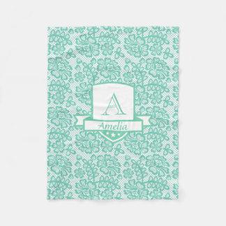 Couverture Polaire Motif blanc turquoise de dentelle de monogramme