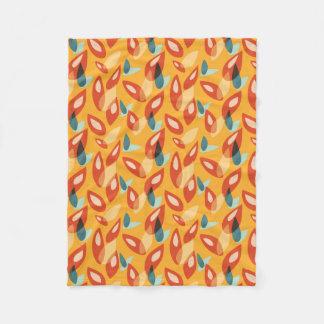 Couverture Polaire Motif bleu orange de feuille d'automne d'abrégé