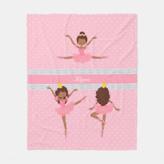 Couverture Polaire Motif de ballerine de rose de dentelle de Polkadot