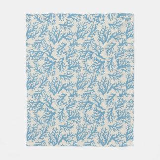 Couverture Polaire Motif de corail bleu
