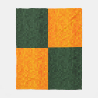 Couverture Polaire Motif de mosaïque verte et jaune,