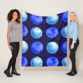 Couverture Polaire Motif de points d'aquarelle bleue d'hiver grand