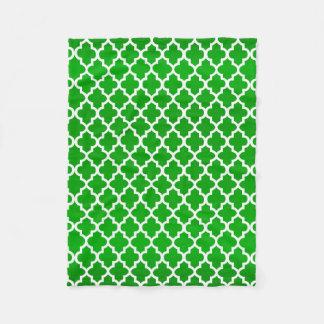 Couverture Polaire Motif de Quatrefoil de vert et de blanc de chaux