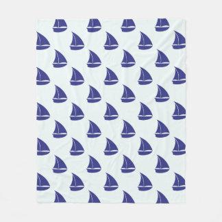Couverture Polaire Motif de voilier de bleu royal
