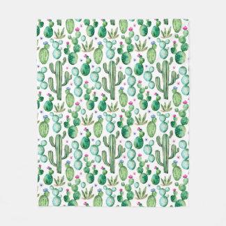 Couverture Polaire Motif d'usines de cactus d'aquarelle