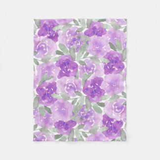 Couverture Polaire Motif floral d'aquarelle pourpre de lavande