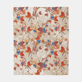 Couverture Polaire Motif floral d'automne de fleur rustique d'automne