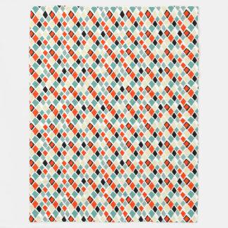 Couverture Polaire motif géométrique de rétros diamants colorés