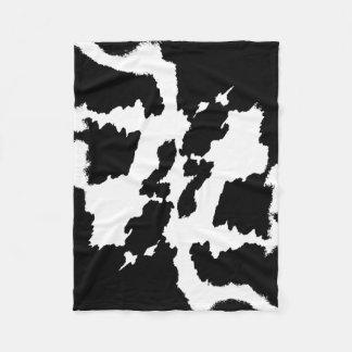 Couverture Polaire Motif noir et blanc d'impression de vache
