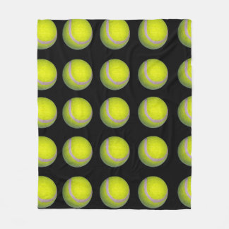 Couverture Polaire Motif noir jaune de balle de tennis,