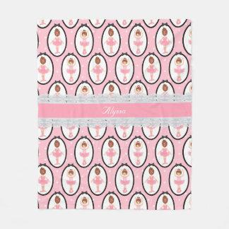 Couverture Polaire Motif rose de ballerine de dentelle