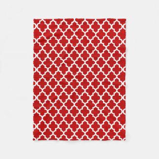 Couverture Polaire Motif rouge foncé et blanc de Quatrefoil