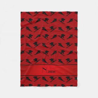 Couverture Polaire Motif rouge nommé personnalisé de ski