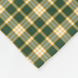 Couverture Polaire Motif sportif vert-foncé et d'or de plaid
