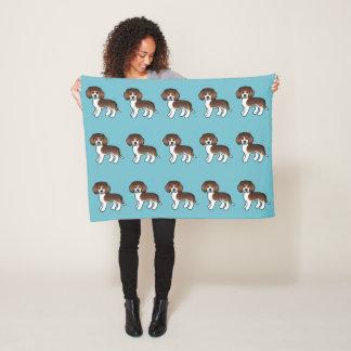 Couverture Polaire Motif tricolore de chiens de beagle de chocolat