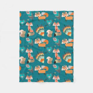 Couverture Polaire Motif turquoise de Fox de tribal