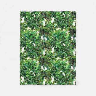 Couverture Polaire Motif vert de chute de forêt de fougère
