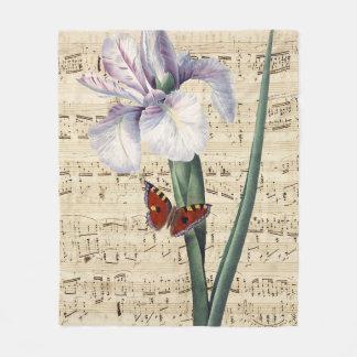 Couverture Polaire musique d'iris et de papillon
