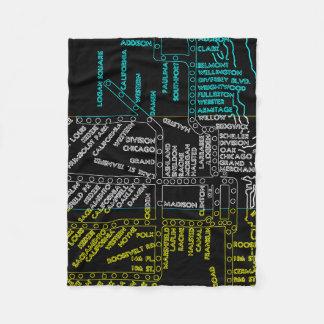 Couverture Polaire NÉON vintage d'itinéraire de carte de système de
