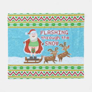 Couverture Polaire Noël drôle   le père noël clignotant par la neige