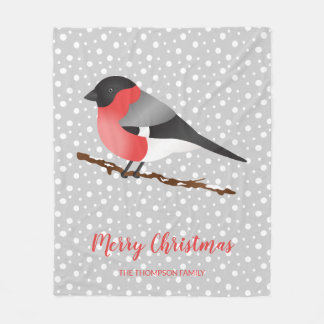 Couverture Polaire Noël eurasien d'oiseau de bouvreuil de