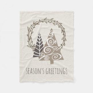 Couverture Polaire Noël rustique de Bonnes Fêtes de guirlande