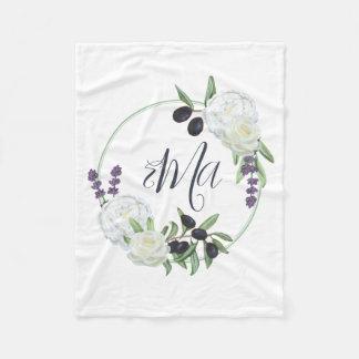 Couverture Polaire Nom floral toscan rustique de bébé de monogramme