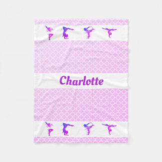 Couverture Polaire Nom Quatrefoil rose pourpre de filles de