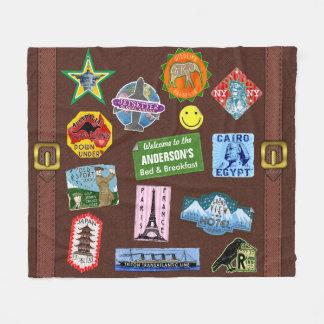 Couverture Polaire Nom vintage d'autocollant de valise de voyage du