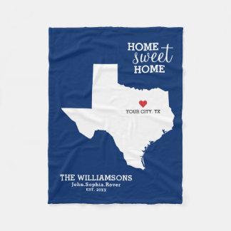 Couverture Polaire Noms faits sur commande de carte d'état du Texas,