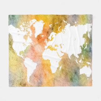 Couverture Polaire Orange de carte du monde de la conception 63