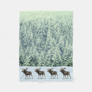 Couverture Polaire Orignaux et arbres d'hiver