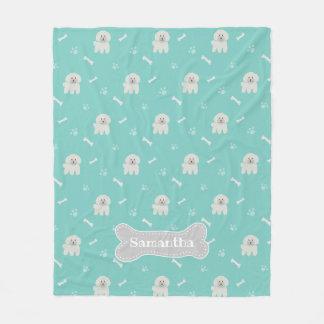 Couverture Polaire Os de chiot blanc pelucheux bleu vert mignon de